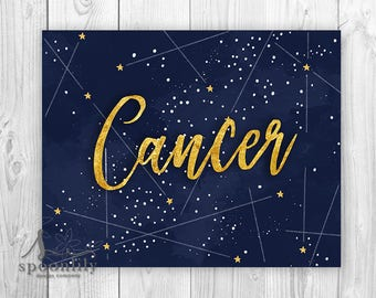 Cancer Constellation, Cancer Zodiac Typography Art, Cancer Astrology Print, Cancer Wall Art, Cancer Poster, Cancer Astronomy, Gold Stars