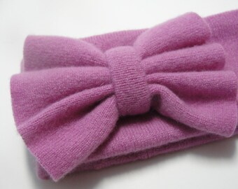 Upcycled Pink Cashmere Earwarmer Headband with Bow