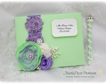 Wedding Lace Guest Book Custom Bridal Flower Brooch Guest Books and Pen in Lime Green, Lavender, Ivory
