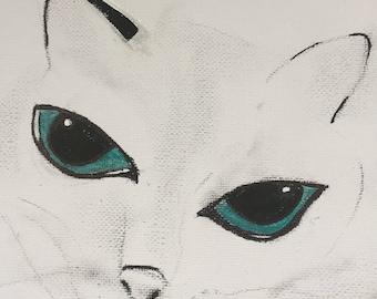 "White Cat Canvas Art Animal Portraits Blue Eyes Home Decor Wall Art Fine Art Pet Paintings Free Shipping UK Art Acrylic Painting 8""x8"""