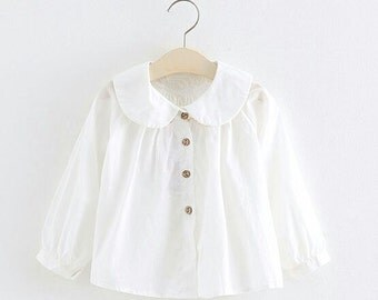 White peasant Blouse, peter pan collar, Girls clothing, long sleeve shirt,  Toddler girls clothes