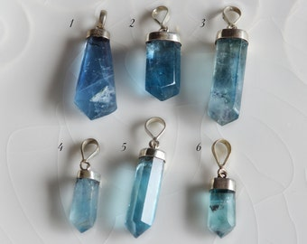 Aqua Blue Flourite Pendants, Sterling Silver Cap and Bail, 1016