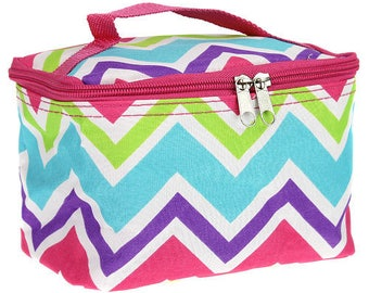 Girls Personalized Small Multicolor Chevron Cosmetic Bag Monogrammed Makeup Case