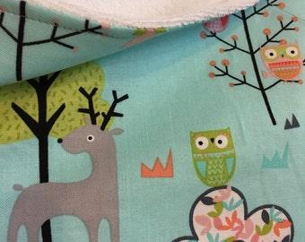 Baby bathrobe , towel, forest animal on blue