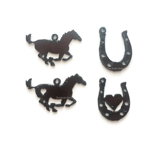 WESTERN Horse Horseshoe Charm Pendant Cutout Set of 3 made of Rustic Rusty Rusted Recycled Metal