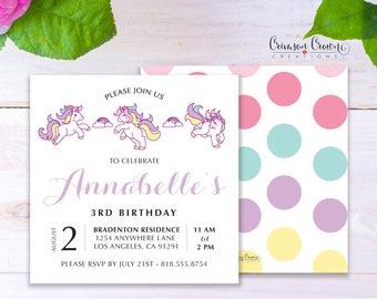 Unicorn Child's Birthday Invitation - Baby, Toddler, Kid's Unicorns & Rainbows Birthday Party Invite - Fairy Tale Party - Digital File
