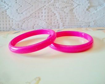 Vintage Hot Pink Bangle Bracelet Set Retro Costume Jewelry