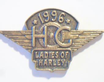Harley Davidson Ladies Of Harley Lapel Pin 1996 Brass Eagle Motorcycle Club Biker HOG Jewelry Accessories