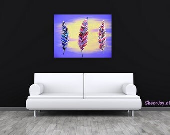 "feather art, feathers, picture of feathers, feather, design, on canvas, colorful painting, wall art, purple, mauve, abstract art, 36"" x 24"""