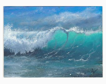 ACEO original seascape miniature painting, art card atc, ocean wave sea beach tropical island by Paul Woodruff