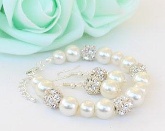 Bridesmaid bracelet earrings, pearl and rhinestone, bridesmaid bracelet earrings set, wedding gift, bridesmaid gift, ivory pearl bracelet