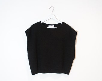 on sale - loose black knit t-shirt / cap sleeve sweater top / size L / XL
