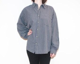 on sale - 90s blue & beige plaid shirt / unisex long sleeve button-up / size XL / XXL