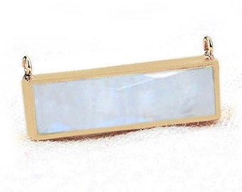 45% HOLIDAY SALE Rainbow Moonstone Bar Necklace Pendant, 22x9mm Rectangle Shape 24k Gold Plated ...