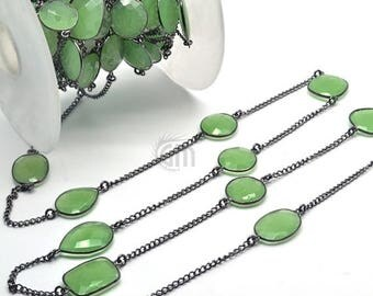 40% OFF One foot Green chalcedony connector chain, 15mm black plated bezel connectors link chain (BPGC-20003)