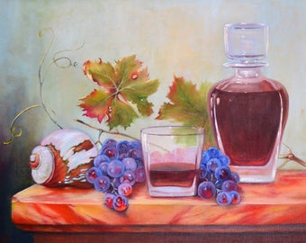 original oil painting on canvas, figure painting, thick oil paint, extremely special, Express Shipping, Sunlit still life