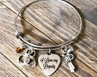 Custom Sheriff's Deputy Officer Charm Bangle Bracelet - Gifts for Her - Police Law Enforcement Department Wife Girlfriend Sister Mom Gift