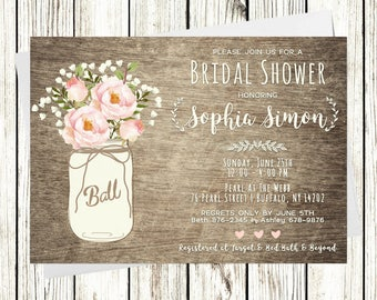 Rustic Mason Jar Bridal Shower Invitation,Baby's Breathe, Roses, Printable
