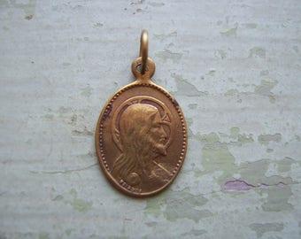 An Antique/Vintage Religious Medallion - Miniature Lord's Prayer Charm/Pendant/Fob.