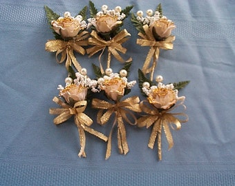 Rose, White and Gold Boutonniere's Set 6