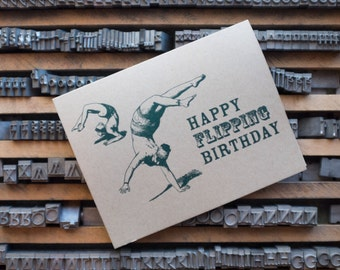 Happy Flipping Birthday Letterpressed Greeting Card in Mint and Olive on Kraft Brown Paper with Kraft Brown Envelope Printed in Cleveland