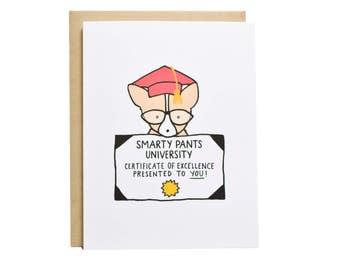 Graduation Card, Smarty Pants, Corgi Card, Dog Card, Congrats Grad, School Graduation, Dog Graduation, Cute Graduation Card, University