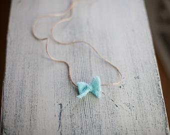Newborn Toddler Girl Blue Bow Headband