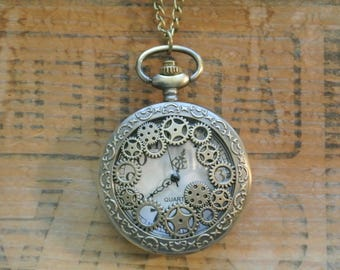 Steampunk Pocket Watch Necklace, Working Watch, Unisex, Large Face Watch Necklace, Timepiece, Many more styles available By UPcycled Works