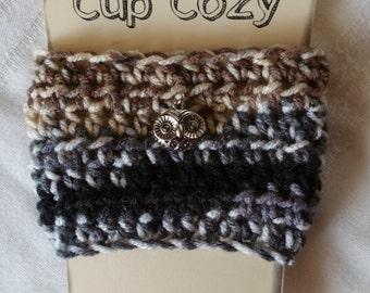 Coffee Cup Cozy, Crochet Coffee Cup Cozy, Cup Cozy, Owl Cup Cozy, Crochet Cup Cozy,  Earth Tones Coffee Cup Cozy