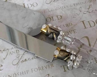 Wedding Cake Knife & Server Set with Pearl Design Keepsake Gift Idea