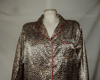 Sz L Leopard Liquid Satin PJs - Lounging Pajamas - Size Large - Silky - Cheetah - Wild Animal Print - Gold  Black White