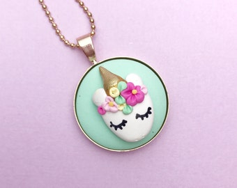 Unicorn Face Necklace - beautiful handmade polymer clay jewellery by Clay & Clasp