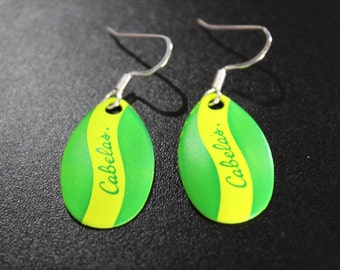 Green/Chartreuse Stripe Spinner Blade Earrings