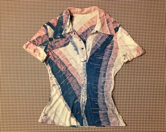 1970's, silky, short sleeve, button neck, collar shirt, in abstract design, Women's size Small/XS