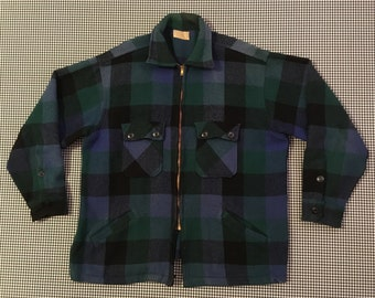 1960's, wool, shirt jacket, in black, green and blue plaid, Men's size Medium/Large
