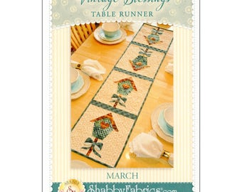 "Pattern ""Vintage Series / March Table Runner"" by Shabby Fabrics (48658) Paper Pattern Instructions"