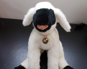 Large Dakin 1983 vintage black face sheep lamb bell collar stuffed animal Easter plush Clean toy antique Christmas