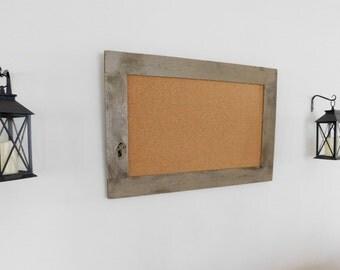 FRAMED CORK BOARD - Large Bulletin Board - 24 x 36 - Industrial Decor - Rustic Decor - Shingle Tan