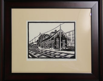 Windsor Locks Train Station, Framed,original signed numbered dated, handprinted on a press, ori