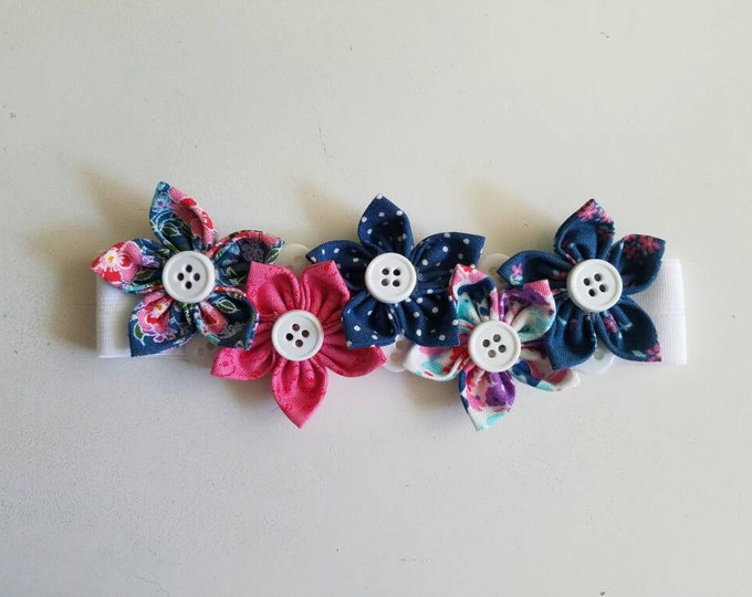 Pink and Blue Floral Flower Baby Headband