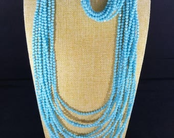 4mm blue bicone beads jewelry set, 4 strands necklace and bracelet with earrings.