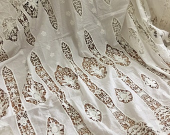 Vintage Cotton Lace Fabric in Ivory , Crochet Fabric for Weddings, Dress, Curtains Drapes, Costume Lace Fabric By The Yard