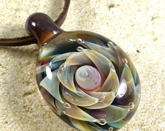 Tropical flower necklace glass beads pendant Handmade custom jewelry Lampwork beads Glass flowers Boro beads