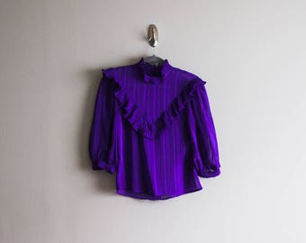 Vintage 80's Victorian Style Sheer Blouse