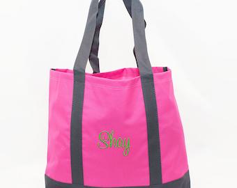 Womens Tote Bag | Monogrammed Tote Bag | Pink Gym Tote | Personalized Girls Tote Bag | Pink Beach Bag | Custom Gift Tote | Pink Tote Bag