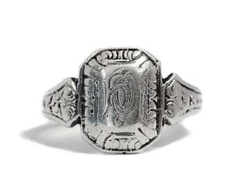 Art Deco Antique Monogram Silver Ring