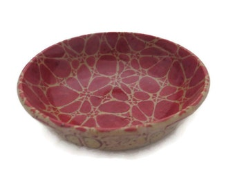 Round maroon zentangle-inspired design glazed ceramic bowl - small kitchen bowl - oil dipping bowl -prep condiment serving bowl-trinket bowl