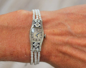 Antique Diamond & Sapphire Bulwark Watch with Pearls - 18 karat White Gold