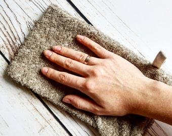 Terry linen glove sponge, terry linen bath glove, terry linen massage pad, organic sponge, terry cloth, sauna sponge, sauna scubing glove