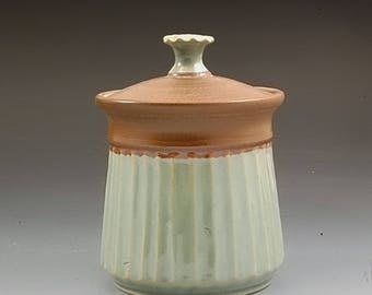 Handmade Pottery Sugar Jar Green and Brown  Stoneware by Marks Pottery.